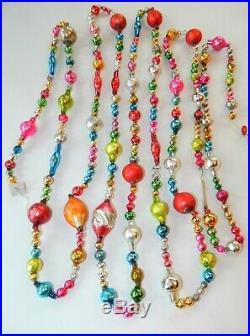 100% Vintage Mercury Glass Bead Christmas Garland BIG ANTIQUE Beads 12 Feet