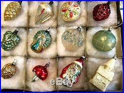 12 Antique German Mercury Glass Blown Feather Tree XMAS ORNAMENTs 1930-40s