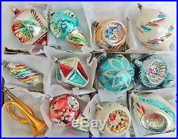 12 LG Vtg POLAND FANCY INDENT MICA CONE Lantern HORN Glass Xmas Ornament Lot Set
