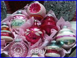 12 Vintage Shiny Brite AQUA PINK Mercury Glass Christmas Indent Shape ORNAMENTS