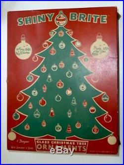 14 Vtg X-mas Tree Glass Ornaments World War Ww II Era Unsilvered Shiny Brite Box