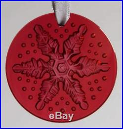 $145 2013 LALIQUE SNOWFLAKE CHRISTMAS TREE ORNAMENT RED New in Box