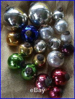 19 Vtg Antique Kugel Mercury Glass Christmas Ornaments Cobalt Red