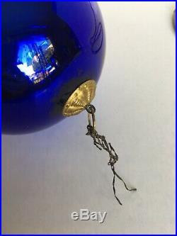 1920s Vintage Early Deep Blue Glass Heavy 4.25 Christmas Kugel Ornament Germany