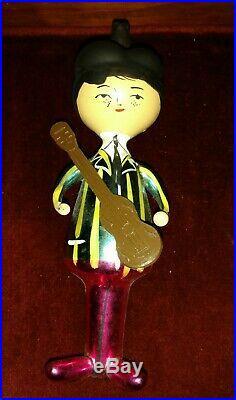 1960s Italian Glass Christmas Ornament w guitar Beatles John Paul George Ringo