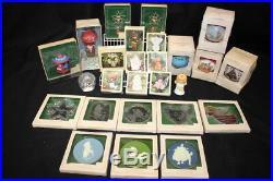 1981 Vintage Lot Of 26 Christmas Glass, Satin, Keepsake Ornaments, HALLMARK NOS