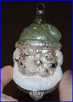 2 Antique German Blown Glass Christmas Feather Tree ORNAMENTS SANTA