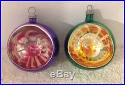2 Vtg Italy Liquid Indent Kaleidoscope 2 1/4 Yellow Pink Christmas Ornaments