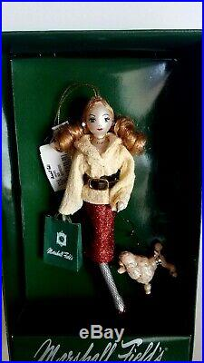 2004 MARSHALL FIELD'S Lady Shopper with Poodle- Glass Christmas Ornament NIB
