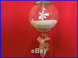 2013 Hallmark Baby's First Christmas Ornament Silver Rattle Glass Snow Globe