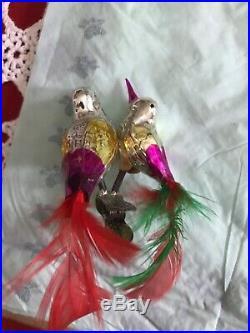 28 Antique Mercury Glass Birds Christmas Ornaments Clip Mint