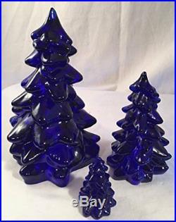 3 Piece Holiday Glass Christmas Tree Set Mosser USA Cobalt Blue