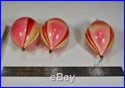 3 Vintage End OF Day Glass Christmas Tree Ornaments. 3 x 5 x 9 diameter