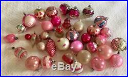 38 ALL PINK LOT Vintage Christmas TREE Shiny Brite & GERMAN OLD Glass ORNAMENTS