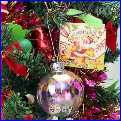 4-24PCS 8/10cm Clear Iridescent Glass Ball Christmas Ornament Wedding Baubles