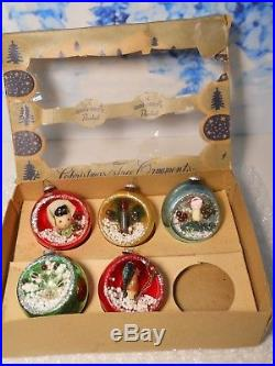 5 Vintage Shiny Brite Glass Indent Diorama Christmas Ornaments withBox