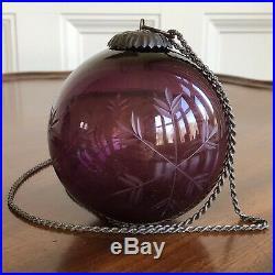 A Rare Antique Victorian Purple Glass Christmas Bauble, Cut Snowflakes. 9cm Dia