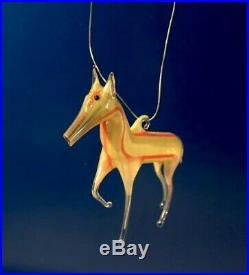 ANTIQUE 1920s CHRISTMAS Blown STRIPED Art Glass VTG BIMINI HORSE TREE ORNAMENT