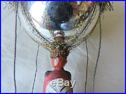 Antique 1890's German Glass Christmas Ornament KRAMPUS Paper Mache Wire Wrapped