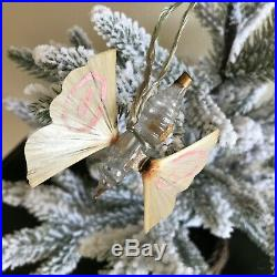 Antique 1905 Christmas Hummingbird Glass Perfume Ornament, Spun Glass Wings