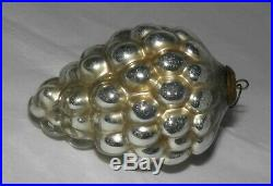 Antique 19th Cent. GERMAN CHRISTMAS ORNAMENT Silver KUGEL Bunch of Grapes 4 1/2