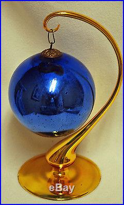 Antique 4 Large Vintage Cobalt Blue Glass Kugel Christmas Ball