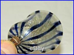 Antique Bimini Striped Art Deco Faden Glass Bell Christmas Ornament 1930's