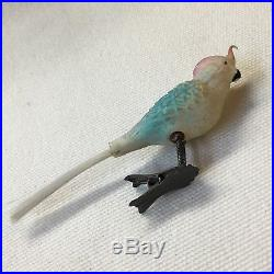 Antique Christmas Ornament Hand Blown Glass Cockatiel Parrot Bird On Clip