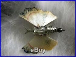 Antique German Christmas Mercury Glass BUTTERFLY, Spun Glass Wings, MINT