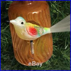 Antique German Christmas ornament glass Bird spun glass feathers tree trunk