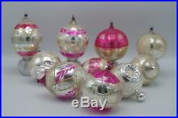 Antique German Feather Glass 10 Large Ball Teardrop Christmas Ornaments Lot