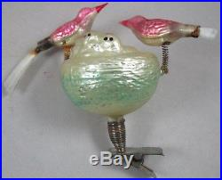 Antique German Figural Glass Christmas Clip Ornament Baby Birds in Nest