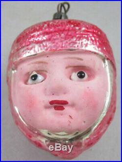 Antique German Figural Glass Christmas Ornament Joan of Art Head w Glass Eyes