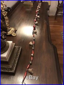 Antique German Figural Glass Christmas Tree Ornament Garland 5 Bells Indent