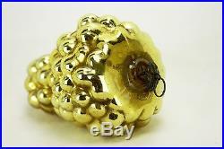 Antique German Gold Grape Kugel Glass Christmas Ornament