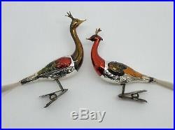 Antique German Hand-blown Mercury Glass 2 PEACOCK Christmas Ornaments (RF952)