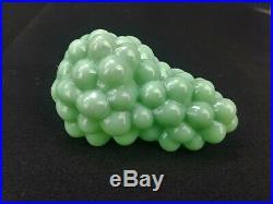Antique German Rare Green Milk Glass Grape Glass Kugel Christmas Ornament ca1900
