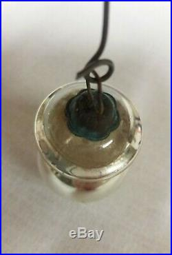 Antique German Silver Glass Finial Lamp Kugel Christmas Ornament -Extremely Rare