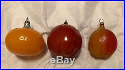 Antique Glass German Feather Tree Fruit XMAS Ornaments Unsilvered Paint Textured