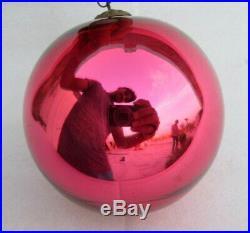 Antique Old Rare Pink Color Glass Original Heavy German Kugel Christmas Ornament