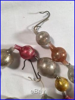 Antique Rare 34 Santa Mercury Glass Bead Garland Christmas Feather Tree Strand