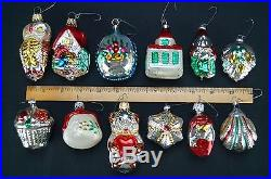antique set of 12 feather tree mercury glass christmas ornaments made in germany