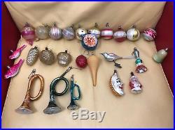 Antique VTG 26 Mercury Glass Tree Figural German Christmas Ornaments Bird Bulbs