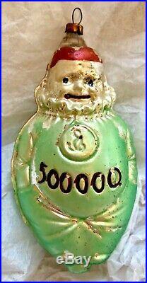 Antique VTG 500,000 Money Bag Clown Figural German Glass Christmas Ornament