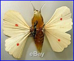Antique VTG Amber Unsilvered Butterfly Spun Glass Wing German Christmas Ornament