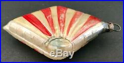 Antique VTG Art Deco Patriotic Sideways Flag German Glass Christmas Ornament