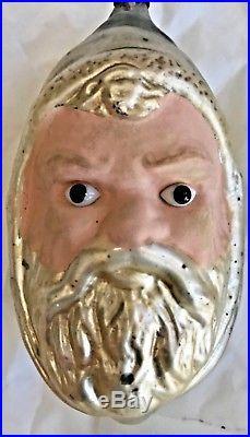 Antique VTG Flesh Face Gold Hat Santa Glass Eyes Glass German Christmas Ornament