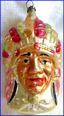 Antique VTG Indian Chief Full Headdress German Glass Figural Christmas Ornament