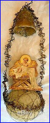 Antique VTG Wire Wrapped Nativity Manger Bell German Glass Christmas Ornament