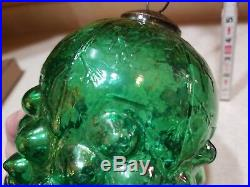 Antique Very Large 8 Grape Green Iridescent Kugel Christmas Ornament